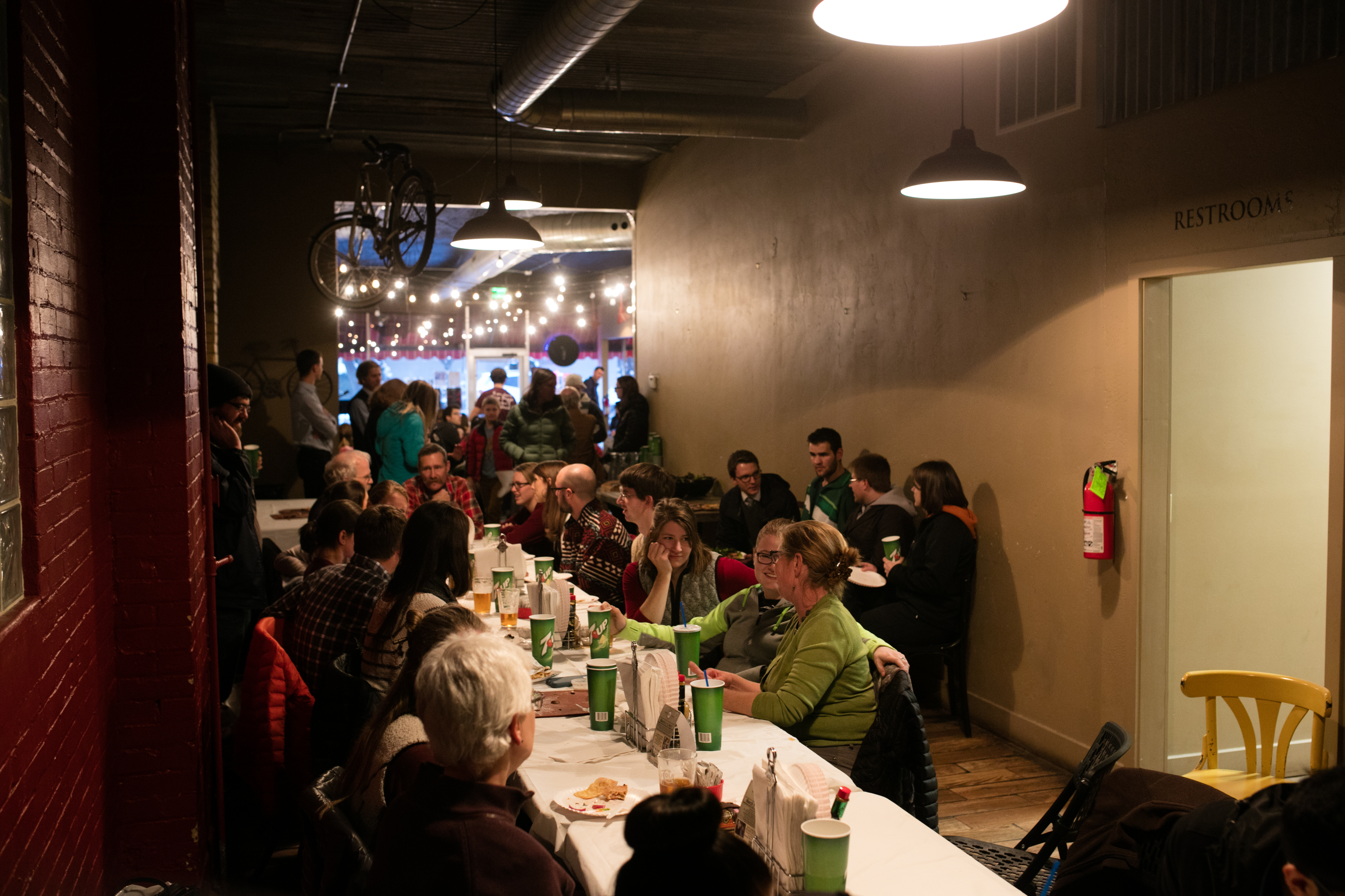 Students socialize at Jack's Wood Fired Oven